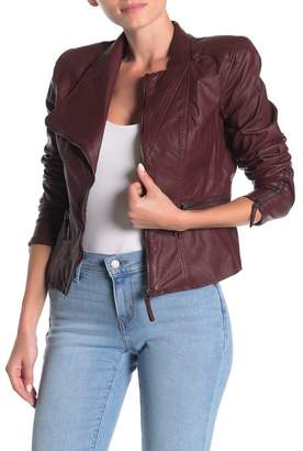 Blank NYC BLANKNYC Denim Faux Leather Fitted Moto Jacket