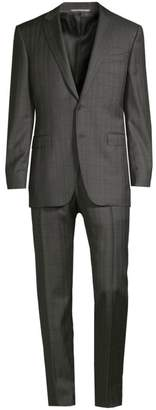 Canali Modern-Fit Windowpane Check Wool Suit