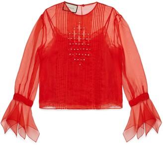 Gucci Silk organdy shirt with crystals