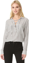 The Kooples Lace Up Striped Shirt