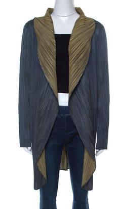 Pleats Please Issey Miyake Leaf Green Plisse Open Front Long Jacket S