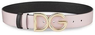 Dolce & Gabbana DC Logo Two-Tone Textured Belt