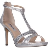 Nina Brietta T-strap Evening Sandals, True Silver.