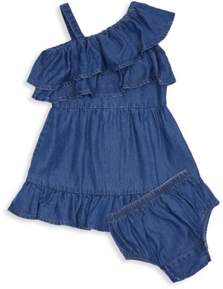 Habitual Baby Girl's 2-Piece Denim Ruffle Wrap Dress & Bloomers Set