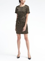 Banana Republic Animal-Print Tie-Waist Shift Dress