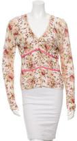 Blumarine Floral Ruffle-Trimmed Cardigan