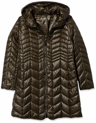 Kenneth Cole New York Kenneth Cole Women's Hooded Chevron Quilted Lightweight Puffer with Chunky Zipper