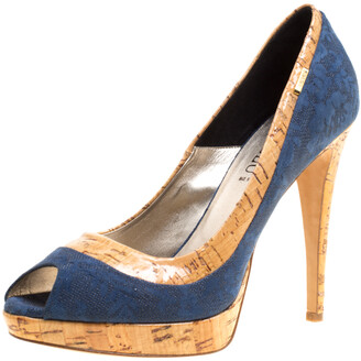 Loriblu Blue/Beige Suede and Cork Print Patent Leather Peep Toe Platform Pumps Size 40