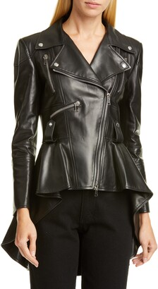 Alexander McQueen Peplum Leather Biker Jacket