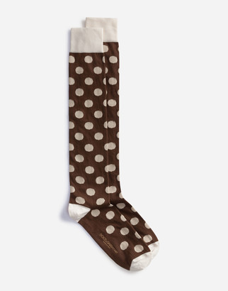 Dolce & Gabbana Stretch Cotton Jacquard Socks With Large Polka-Dots
