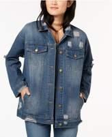 Say What Juniors' Cotton Denim Ripped Trucker Jacket