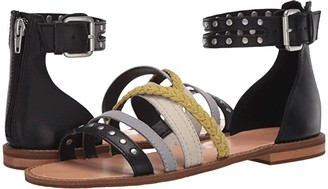 Frye Evie Mixed Strap Stud Sandal (Black Multi Waxed Leather/Suede) Women's Shoes