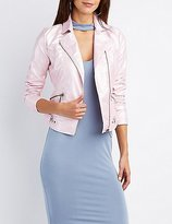 Charlotte Russe Metallic Faux Leather Moto Jacket