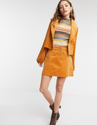 Lottie And Holly cord zip through mini skirt co-ord in mustard