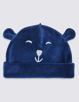 Marks and Spencer Cotton Rich Bear Velour Hat