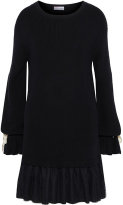 RED Valentino Point D'esprit-paneled Ribbed Cotton Dress