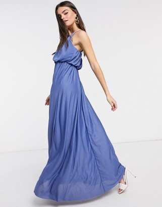 ASOS DESIGN cami plunge maxi dress with blouson top in slate blue