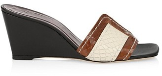 STAUD Sylvie Snakeskin-Embossed Leather Wedge Mules