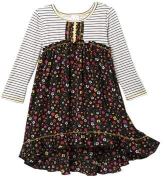 Pink Vanilla Ditsy Floral Mixed Media Dress (Toddler & Little Girls)