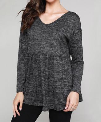 Cool Melon Women's Tunics Charcoal - Charcoal Drop-Shoulder Empire-Waist V-Neck Tunic - Women & Plus