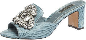 Dolce & Gabbana Light Blue Embossed Lizard Leather Crystal Embellished Sandals Size 37
