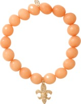Sydney Evan Diamond Fleur De Lis Beaded Bracelet
