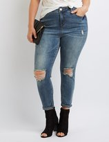 Charlotte Russe Plus Size Destroyed High-Rise Skinny Jeans