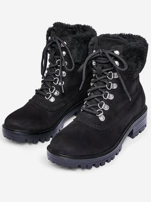 Dorothy Perkins Wide Fit Millie Fur Hiker Style Boots - Black