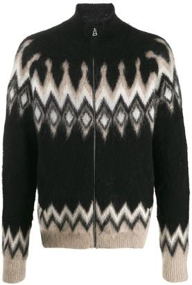 Laneus brush knit zipped cardigan