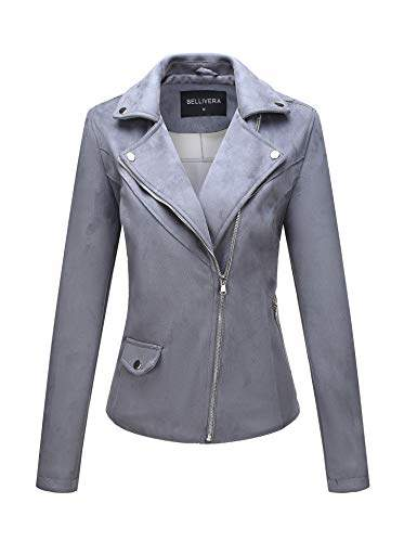 Bellivera Womens Faux Suede Leather Short Jacket