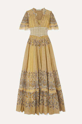 Etro Ruffled Printed Cotton-voile And Jacquard Maxi Dress - Pastel yellow