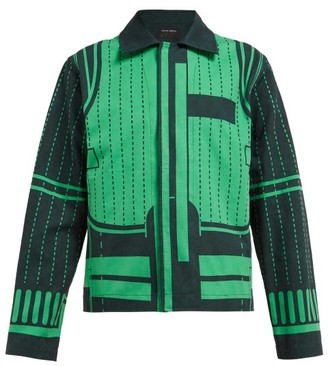 Craig Green Graphic-print Stonewashed Denim Jacket - Green