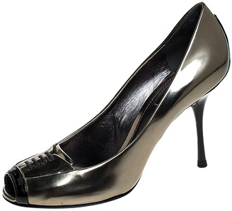 Dolce & Gabbana Gold/Black Patent Leather Peep Toe Pumps Size 40