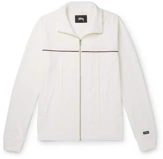 Stussy Piped Cotton-Blend Pique Zip-Up Sweatshirt