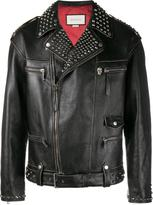 Gucci King Charles Spaniel biker jacket - men - Calf Leather/Polyamide/Brass - 46