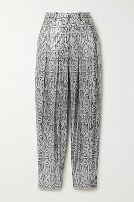 Christopher Kane Pleated Sequin-embellished Snake-effect Faux Leather Tapered Pants - Silver