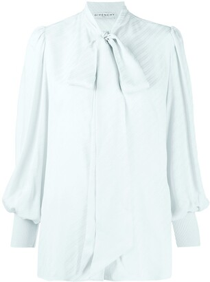 Givenchy Bishop Sleeves Bow-Embellished Blouse
