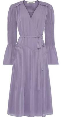 Diane von Furstenberg Ani Shirred Pleated Chiffon Wrap Dress