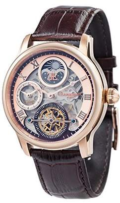 Thomas Laboratories Earnshaw Earnhshaw Men's Longitude Shadow Automatic Watch with Rose Gold Dial Skeleton Display and Brown Leather Strap ES-8063-02
