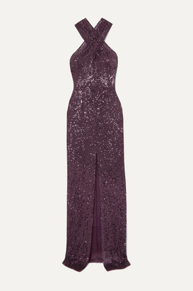 Naeem Khan Cutout Sequined Tulle Gown - Purple