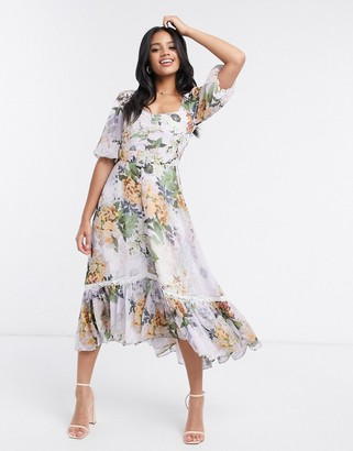 Hope & Ivy belted puff sleeve high low dress in lilac grey floral