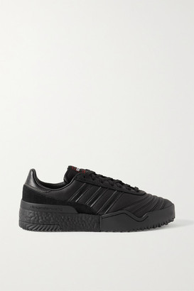 Adidas Originals By Alexander Wang Bball Soccer Suede-trimmed Leather Sneakers - Black