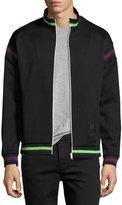 McQ by Alexander McQueen Striped Zip-Front Cycle Jacket, Darkest Black