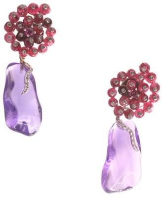 Sharon Khazzam Larra 14K White Gold, Amethyst, Spinel & Diamond Drop Earrings