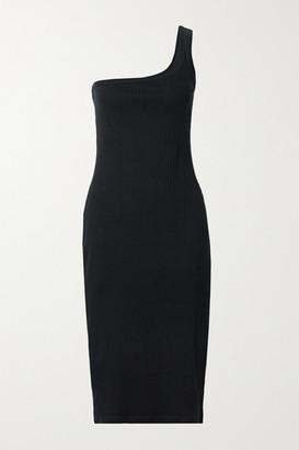 Ninety Percent One-shoulder Ribbed Stretch-organic Cotton Midi Dress - Black