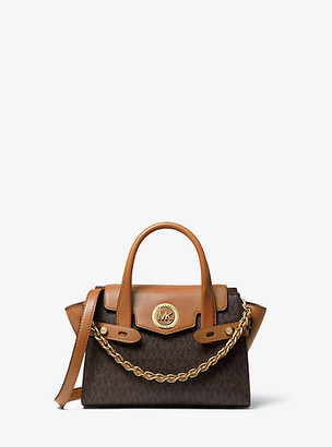 MICHAEL Michael Kors MK Carmen Extra-Small Logo and Leather Belted Satchel - Brn/acorn - Michael Kors