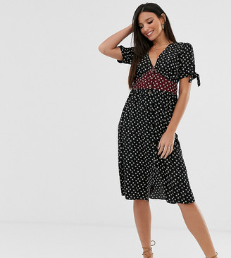 Brave Soul Tall gracie midi dress with mixed floral panel