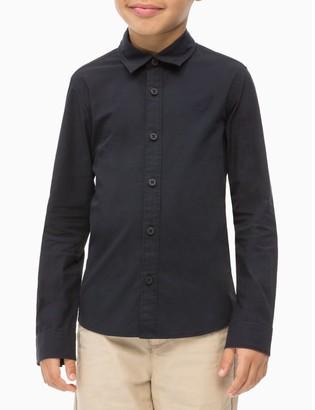 Calvin Klein Boys Cotton Poplin Logo Shirt