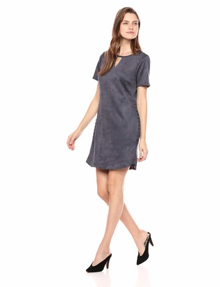 Tribal Women's Stretch Suede Short Sleeve Dress with Lace Up Detail