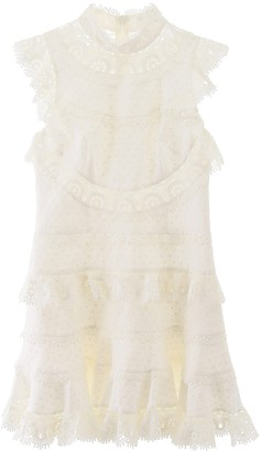 Zimmermann Ruffle Embroidered Mini Dress
